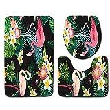 DREAMING-Alfombra De Baño Animal Flamingo + Alfombra De Contorno + Juego De Tapa De Inodoro Alfombra De Baño Antideslizante Suave Juego De 3 Piezas 50cm * 80cm