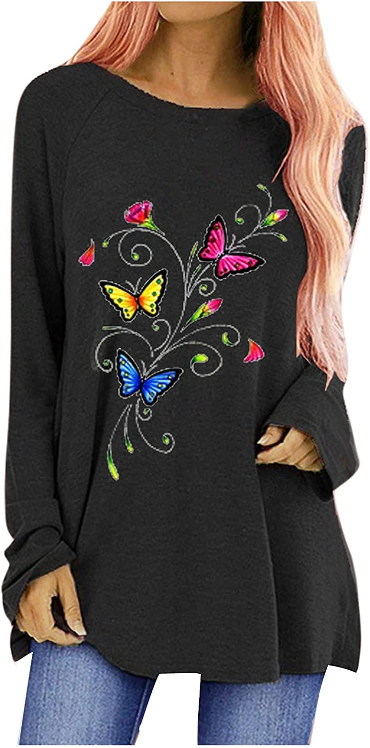 Women's Long Sleeve Tops O-Neck Butterfly Floral Print Casual Loose T-Shirts Blouse Tunic Tops Tops