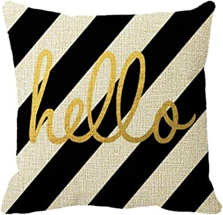 Smity 106 Gold Kate Spade Hello Design On Black White Stripes Throw Pillow Cover Case Decorative Square Cotton Linen Sofa Cushion Cover,16 x 16inch
