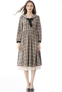 Fashion Retro Lattice Mid-Length Dress High Quality (Color : As Show)