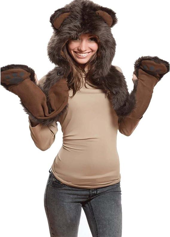 PowerKing Cappello animale 3 in 1 Cappellino scaldacollo completo di cappuccio con funzione animale con sciarpa calda Guanti orecchie e zampe