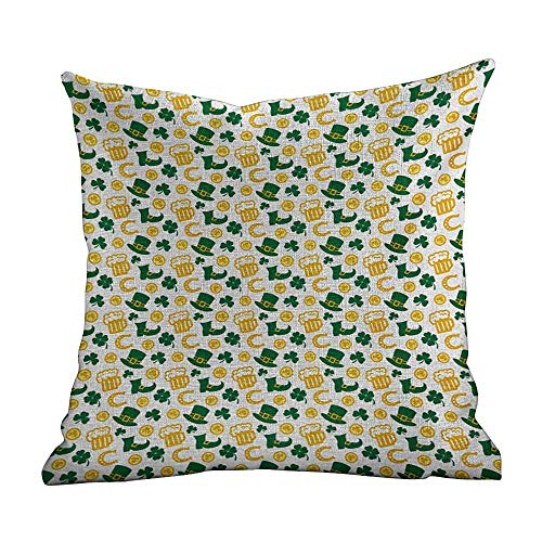 Custom Throw Pillow Cover Irish,Happy St. Patricks Day Concept Pattern with Traditional Holiday Symbols,Green Yellow White,Custom Throw Pillow Case Cushion Cover Pillowcase Pillow Cover 18'x18'inch