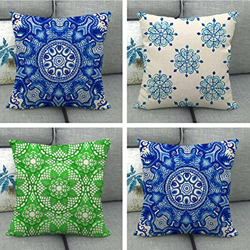 JOVEGSRVA Juego de 4 fundas de almohada decorativas para sala de estar, sofá, cama, 45 x 45 cm, color azul