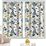 Cortinas de dormitorio, hojas de flores de colores de 52 x 95 pulgadas, bolsillo para barra de cortinas