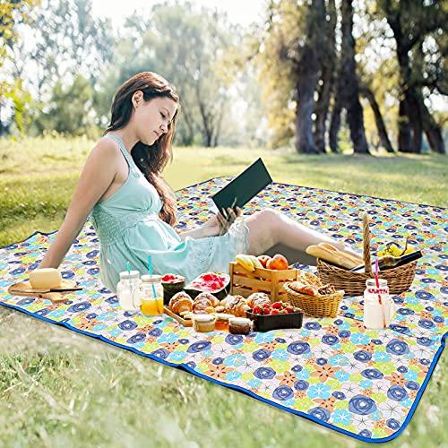 HMGDFUE Manta Picnic Impermeable, 200 x 200cm 600D Oxford Alfombra de Picnic para Playa, Parque, Patio, al Aire Libre con Capa Impermeable, Lavable a Máquina, Plegable