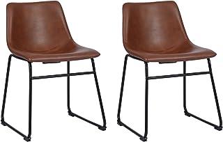 Juego de 2 sillas de Comedor de Piel sintética, sin reposabrazos, Estilo Retro, con Patas de Metal y Alfombrilla Protectora para el Suelo, Color marrón
