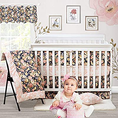 Brandream Crib Bedding Sets for Girls with Bumpers Peach Blush Pink Vintage Floral Baby Girl Nursery Bedding Navy Farmhouse Baby Comforter Set, 9 Pieces