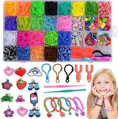 VEGCOO Pulseras Gomas 32 Colores, Gomas para Hacer Pulseras, Loom Bands Elásticas de Silicona y Muchos Pequeños Accesorios para Hacer Pulseras Collares, Pulseras De Colores Kit para Niños Niñas