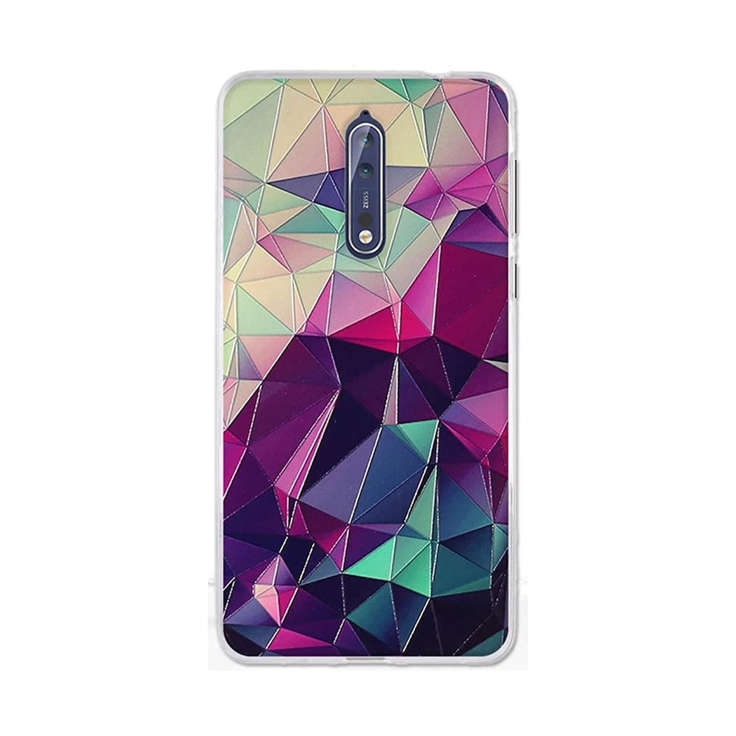 Nokia 8 Case,Gift_Source [Anti-Slip] Ultra Thin Protective Case Colorful 3D Emboss Print Soft TPU Rubber Cover Clear Shock-Absorbing Bumper For Nokia 8 (5.3 inch) [Colorful Cube]