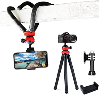 Adofys Camera Flexible Tripod, Cell Phone Tripod 12 Inch Gorilla Tripod Lightweight Bendable Tripod with Heavy Duty Smartphone Stand, Compatible for Action Camera etc. (With Holder And Tripod Adapter)