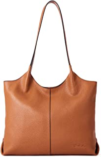 "BOSTANTEN Women Designer Shoulder Tote Handbag Soft Genuine Leather Top-handle Purses - brown - Medium (L)14.0"" x (W)4.1"" x (H)11.0"""
