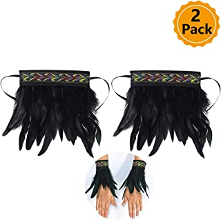 2 Pack Nature Feather Cuffs for Game Party Halloween