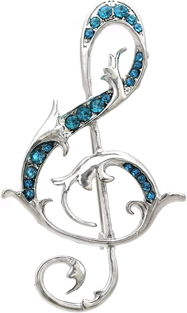 Unsigned Clear Rhinestones Silver Tone Metal Round and Baguette Set of 2 Music Note Brooches