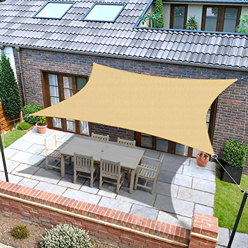 Sun Shade Sail, Rectangle 6.5' x 10' Shade Canopy, Sunrays Block Awning for Patio, Carport, Backyard, Garden and More