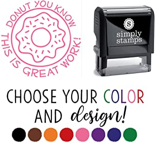 Cute Teacher Stamps - Funny Self-Inking Teacher Stamps - Donut You Know This is Great Work - Donut)