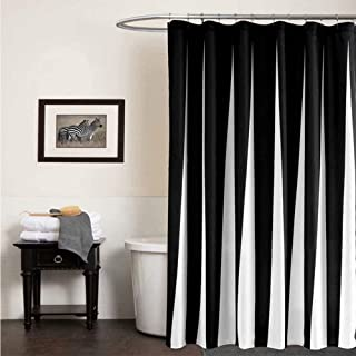 Shower Curtains Black and White, Striped Fabric Bathroom Curtain with Hooks for Bathroom ,72x72 inch Waterproof Folds Micr...