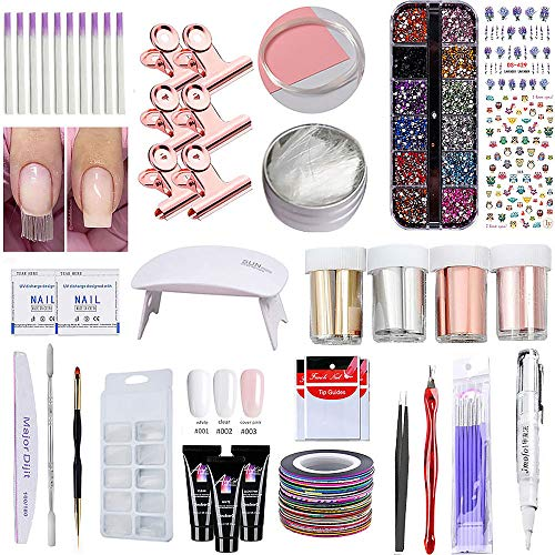 Poly Nail Extention Gel Kit Anself Nail Builder Gel Enhancement Set Nail Lamp, Poly Nail Gel, Fiberglass Molds Rhinestones Decoration Nail Art Manicure Kit