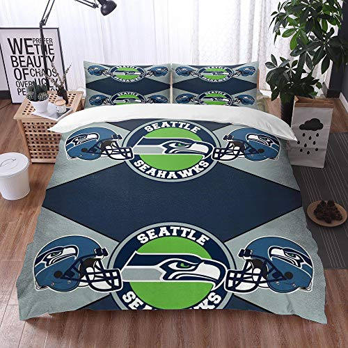 XiHi Duvet Cover Set, Bed Sheets, Rugby team Seattle Seahawks Solid color background Artistic creative theme,1 Duvet Cover Set 135 * 200 cm,+2 pillowcase 50x80cm