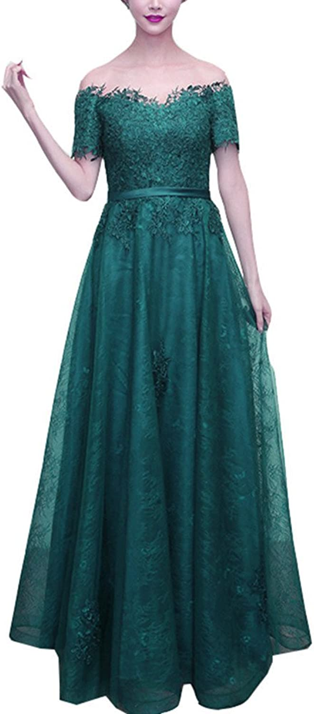 Snow Lotus Women's Short Sleeve Lace Applique Long Big Size Ball Gown