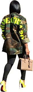 Women Fashion Military Camouflage Letters Printed BF Coat Safari Jacket Overcoat