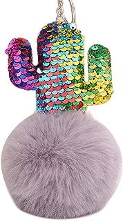 Sanwooden Cute Key Chain Sequins Cactus Faux Fur Ball Keyring Car Key Chain Women Handbag Pendant Gift Girl Fashion Accessories