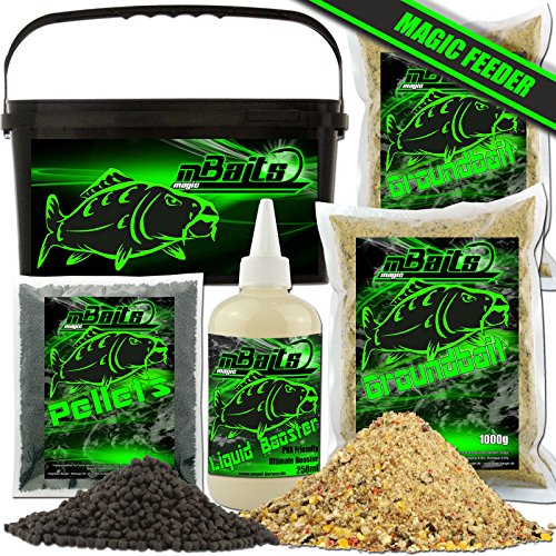 Angel-Berger Magic Baits Futterset mit Eimer Angelfutter Groundbait Liquid Pellets (Feeder)