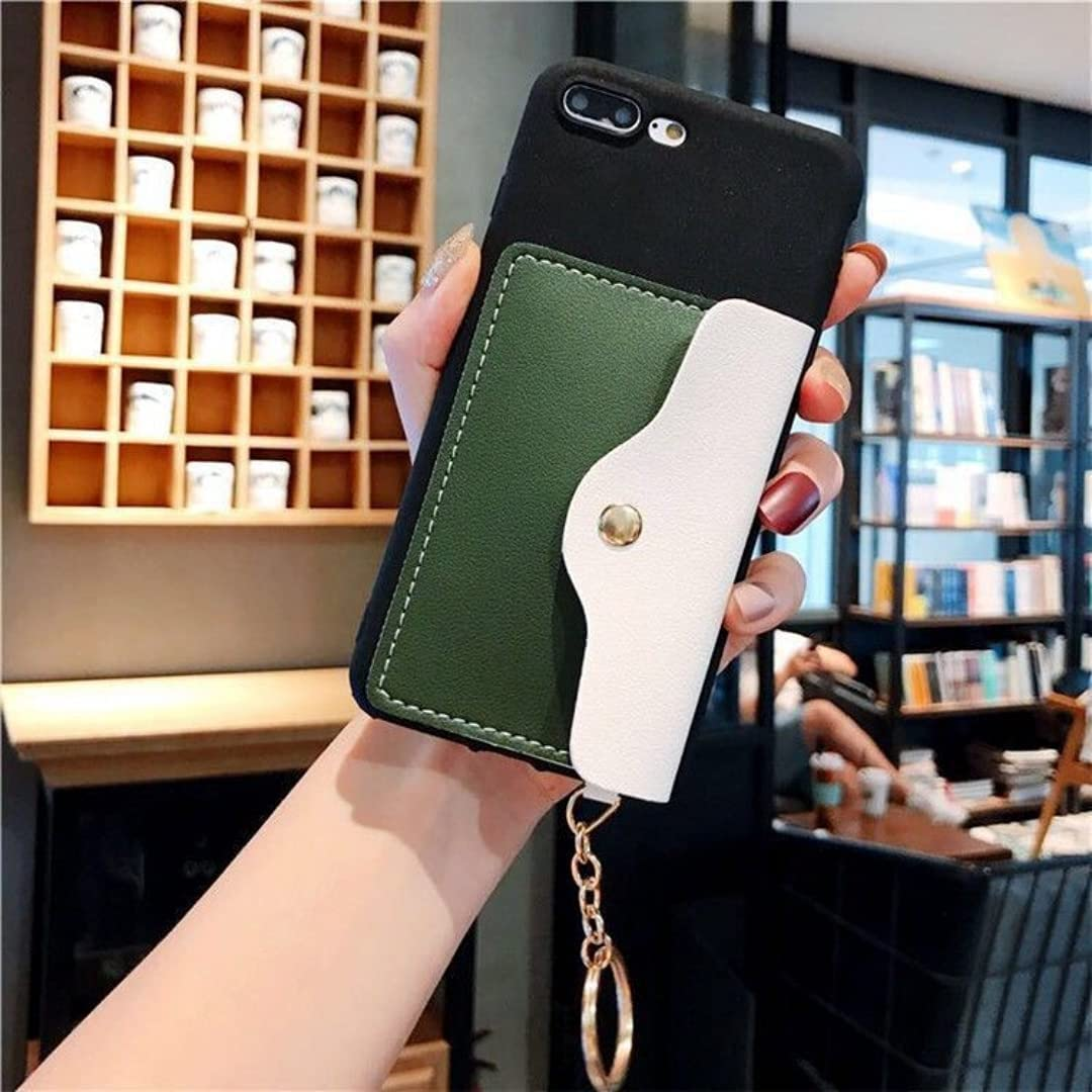 ISYSUII Crossbody Case for Huawei Mate 20 Wallet Case with Credit Card Holder Adjustable Neck Lanyard Strap Leather Purse Handbag Magnetic Protective Case for Girl Women,Black Green