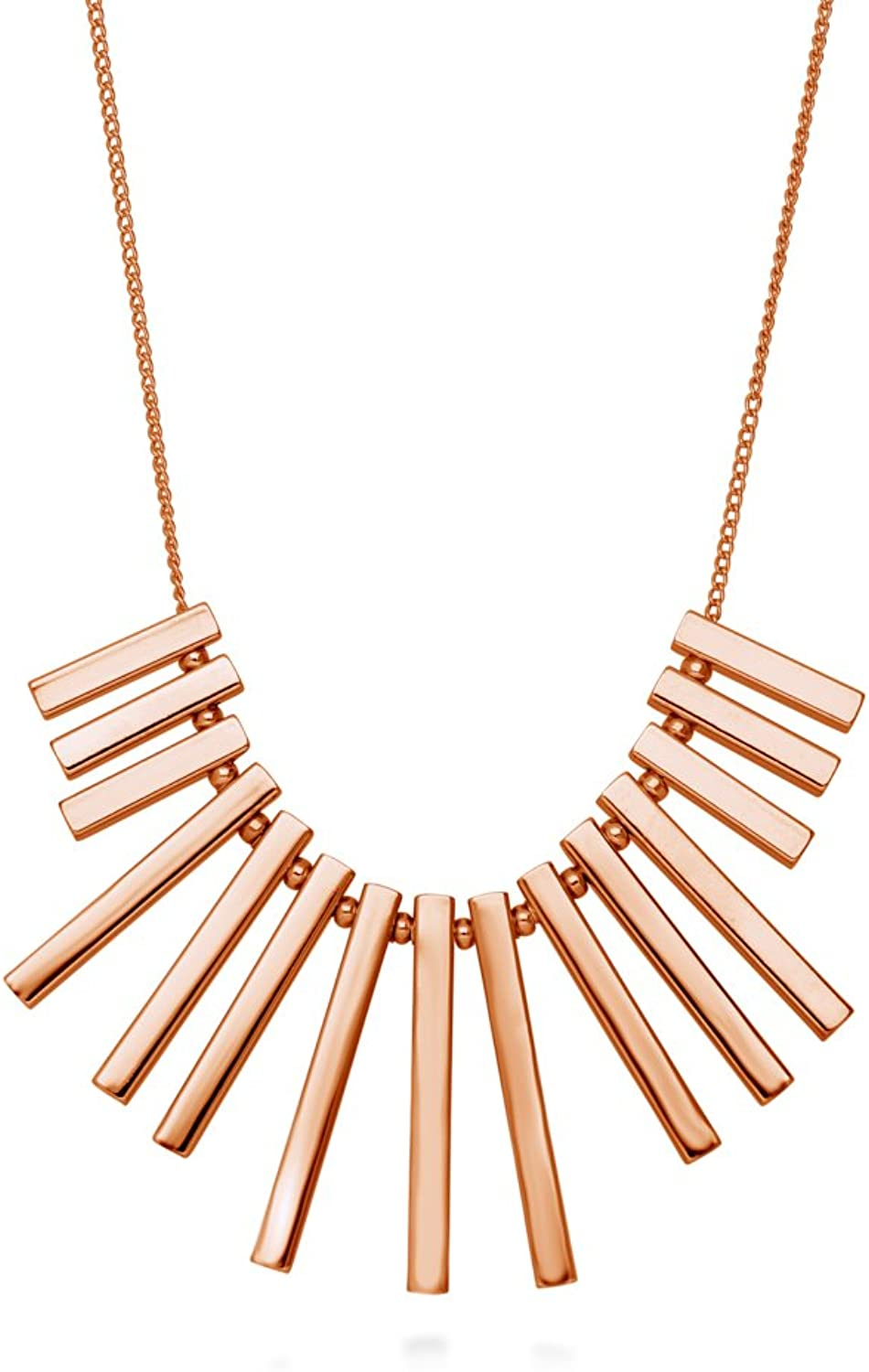 BERRICLE pink gold Plated Base Metal Bar Fashion Bib Statement Necklace 16.5 +2  Extender