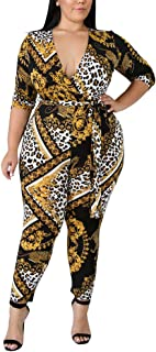 47de366f1fb lexiart Plus Size Jumpsuits for Women - Sexy Stretchy Jumpsuits V Neck Long  Sleeve African Rompers