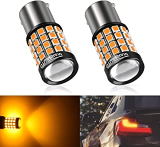 156/7506/1141 LED Reverse Backup Bulbs, 2019 UPGRADED Fast Heat Dissipation 1200 Lumen Marsauto 52 SMD 3030/2835 Chip Sets Stop Tail Light Lamp Bulbs Replacement. Amber/Yellow