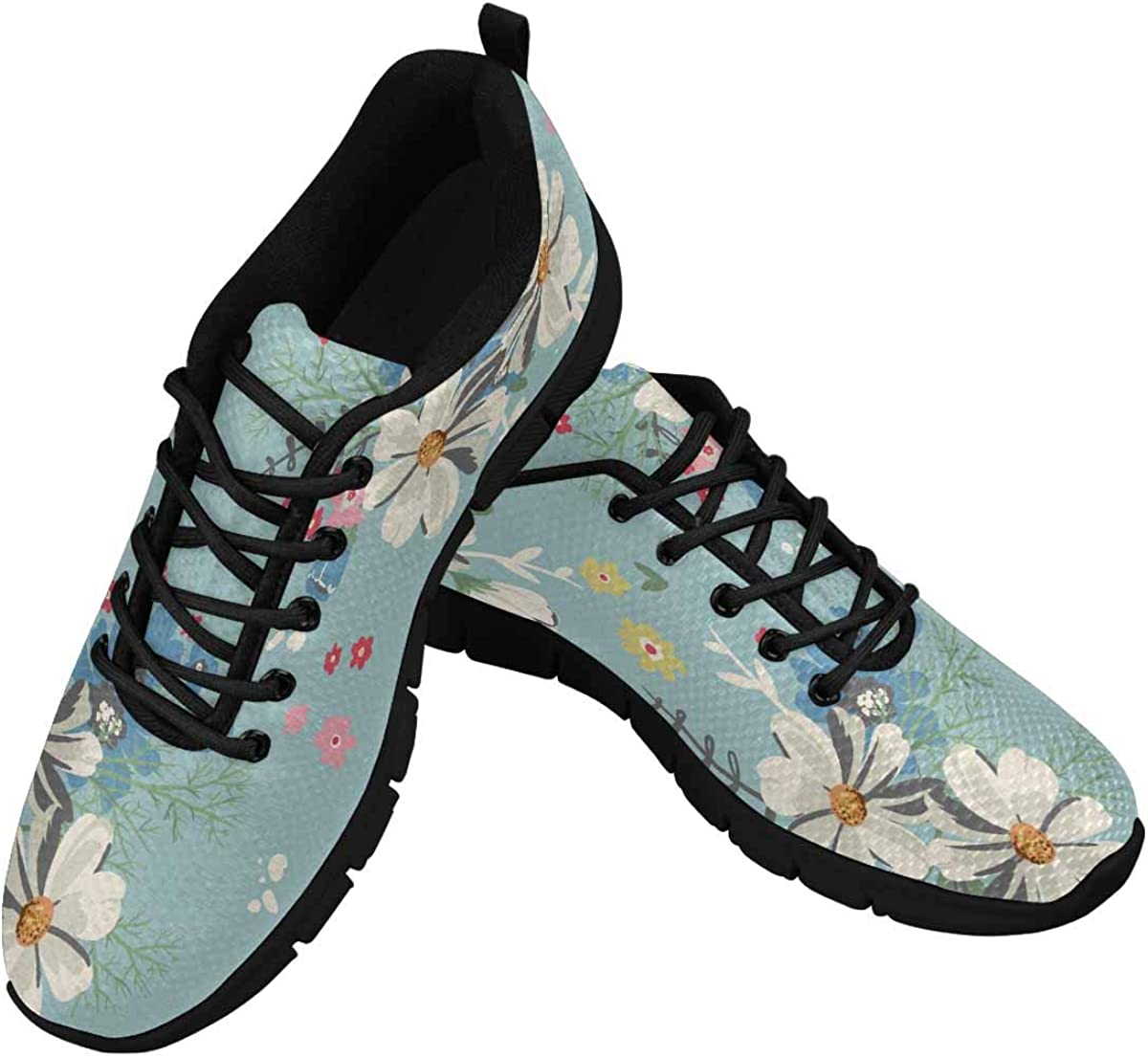 INTERESTPRINT Daisies and Other Flowers Women's Athletic Walking Shoes Casual Mesh Comfortable Work Sneakers
