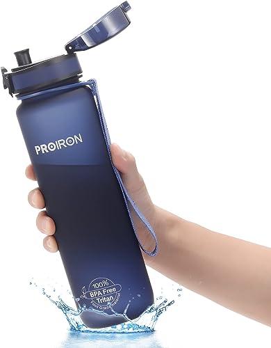 PROIRON Botella agua deporte Tritan Sin BPA Botella Reutilizable para Senderismo al Aire Libre, Viajes de Campamento ...