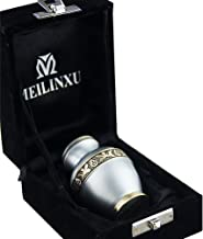 Keepsake Funeral Urn by Meilinxu- Mini Cremation Urn for Human Ashes Adult- Brass Hand Engraved- Fits a Small Amount of Cremated Remains- Display Burial Urn at Home or Office (Elsene Sky Blue Baby Urn