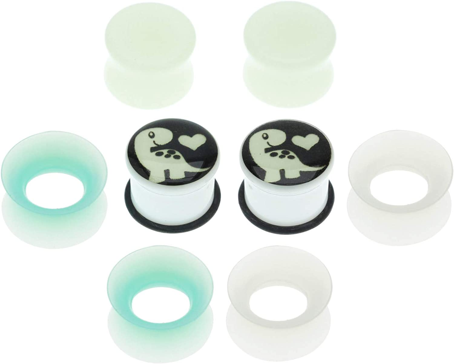 Balala 6mm-16mm Stone Acrylic Silicone Glow In the Dark Tunnels Plugs for Ears Gauges Piercing