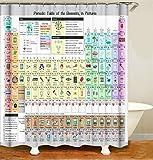 Tong XIN Tabla periódica Colorida de la Herramienta de Aprendizaje de Elementos químicos Protege la Cortina de Ducha de privacidad, la Cortina de Ducha Impresa es fácil de Quitar