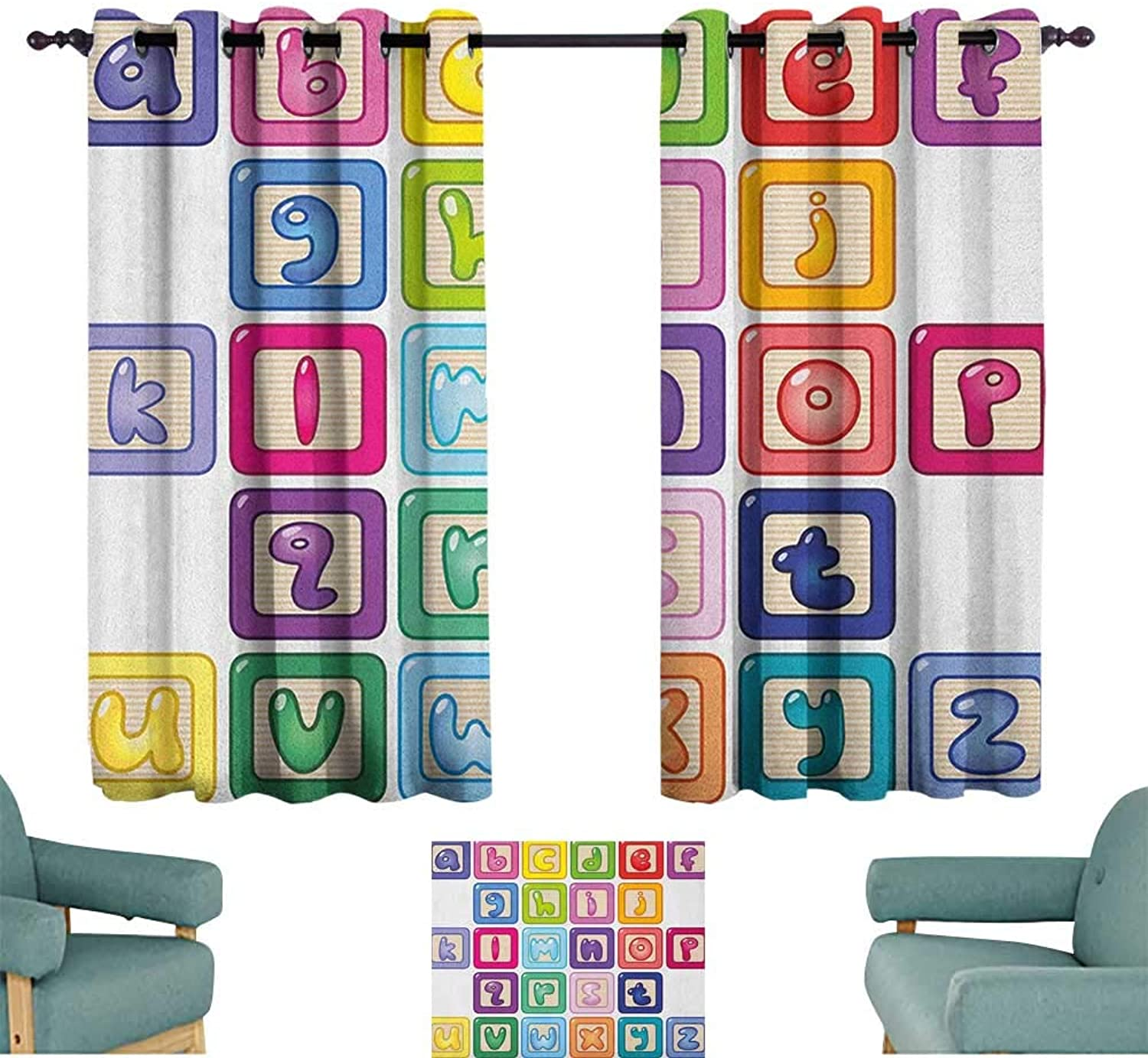 Alisoso Educational,Boys Bedroom Backout Curtains colorful Lower Case Alphabet Blocks Cute Kids Font ABC Cartoon Style Typography 42 X54  Home Decor Fashion Backout Draperies