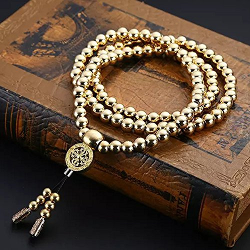 Outdoor Stainless Steel 108 Buddha Beads Necklace Hand Bracelet Chain Titanium Steel Metal Necklace Waist Chain