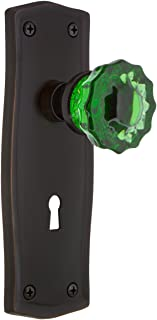Nostalgic Warehouse 725868 Prairie Plate with Keyhole Privacy Crystal Emerald Glass Door Knob in Timeless Bronze, 2.375