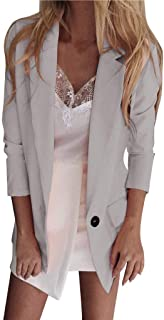 Womens Casual Blazer Ruched Long Sleeve Open Front Lightweight Work Office Blazer Jacket Lapel Collar Cardigan Coat