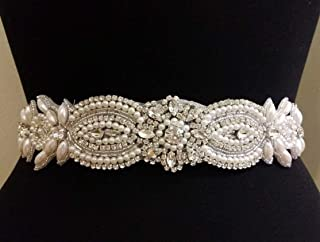 Wedding Belt Applique Bridal Belt, Sash Belt Applique, Crystal Rhinestone & Off White Pearls (Renewed)