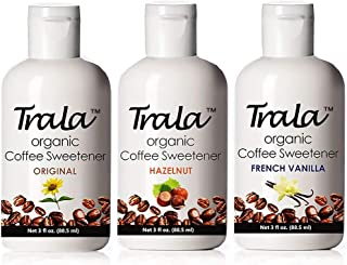 TraLa Certified Organic Coffee Syrup Sweetener - Keto, Vegan & Kosher - For Health Conscious Coffee Lovers - Subtly Sweet, Low Calorie Healthy Sugar Substitute - No Bitter Aftertaste - Assorted 3 Pack