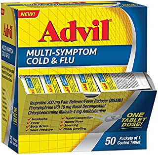 Advil Multi-Symptom Cold & Flu, 200mg Ibuprofen, Pain & Fever Reducer, (50Count), Nasal Decongestant, Fast Relief for Nasal Congestion, Headache, Runny Nose, Sneezing, Body Aches & Sinus Pressure