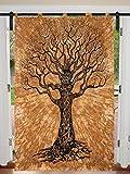 Cortina individual para ventana, diseño de mandala de árbol de la vida, para colgar en la puerta, cortina de mandala, para decoración de mandala, tamaño individual de 125 cm x 208 cm