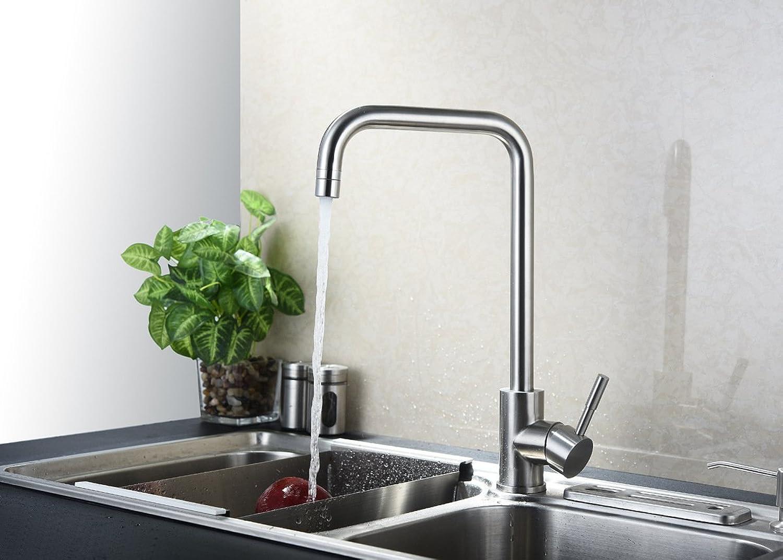 Gyps Faucet Waschtisch-Einhebelmischer Waschtischarmatur Badarmatur304 Edelstahl Wasserhahn Mischen Mischen von heiem und kaltem Wasser Küche Wasserhahn,Mischbatterie Waschbecken