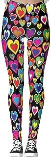 DIYCCY - Pantalones de yoga con arco iris de corazones para mujer de cintura alta