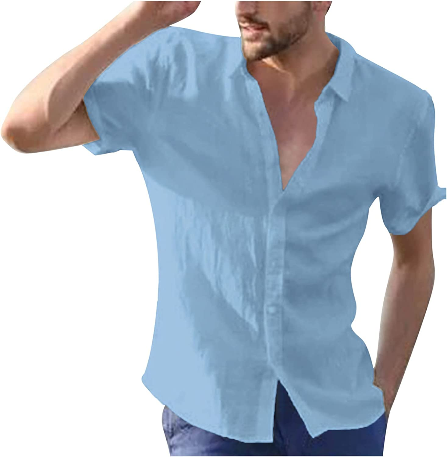 WOCACHI Button Down Shirts For Mens, Summer Turn-Down Collar Short Sleeve Solid Casual Tops Lightweight Tee Shirt