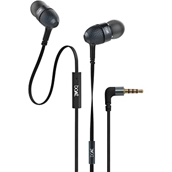 boAt BassHeads 225 in-Ear Wired Earphones with Super Extra Bass, Metallic Finish, Tangle-Free Cable and Gold Plated Angled Jack (Black)