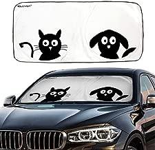 IC ICLOVER Car Windshield Sunshade with Pet Design, Cute Cartoon Design Front Auto Car Windshield Sun Shade Folding Silvering Sun Visor - UV Coating for UV Ray Deflector (59 x 33 Inches)