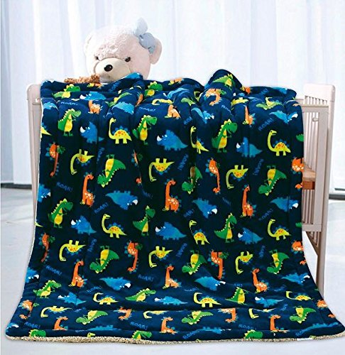 Elegant Homes Kids Soft & Warm Sherpa Baby Toddler Boy Sherpa Blanket Navy Blue Dinosaurs Multicolor Printed Borrego Stroller or Toddler Bed Blanket Plush Throw 40X50# Dinosaurs