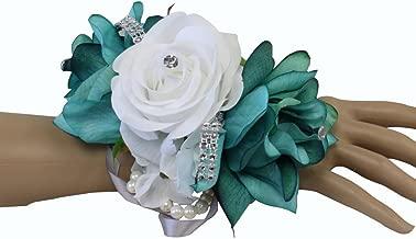 Angel Isabella Wrist Corsage-keepsake artificial roses hydrangea large wrist flower flower prom dance graduation events (Jade/Teal White)